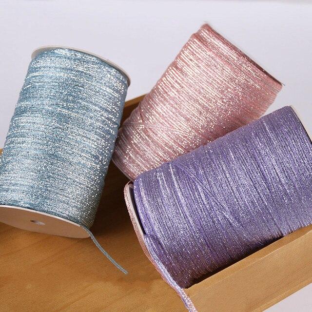 """3 מ""""מ צבע בצל סרט נצנצים רקום בצל סרט לחתונה עוגת מתנות גלישת DIY מלאכת עיצוב הבית (10 מטרים\חבילה)"""