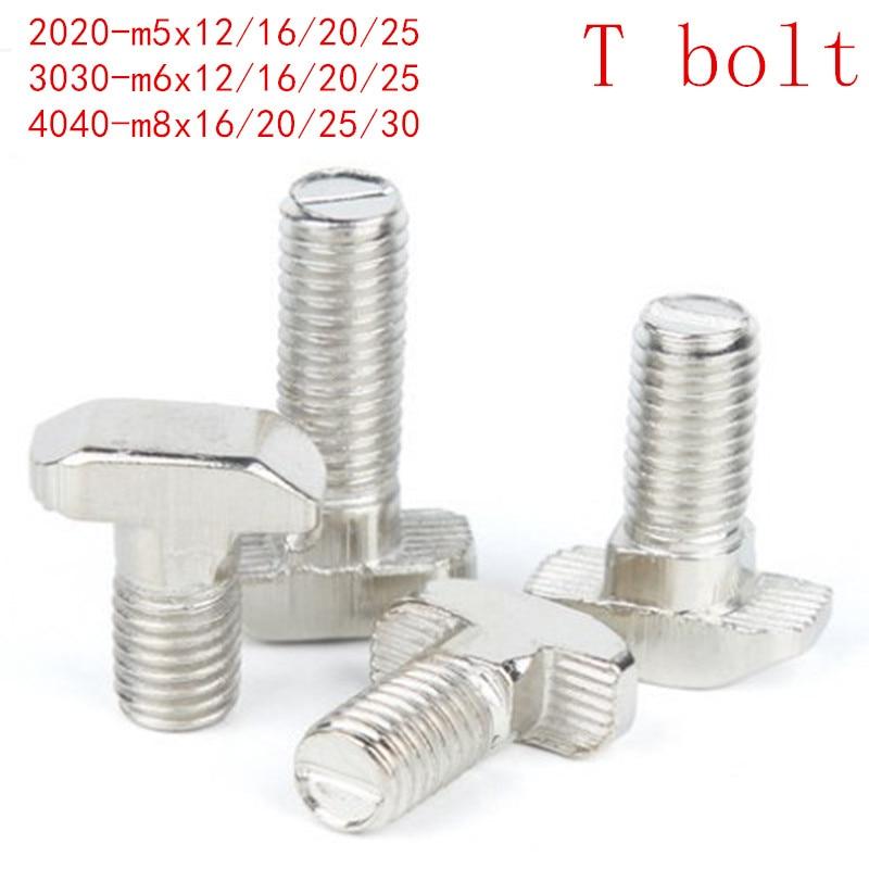 US $1 75 12% OFF|10PCS 5PCS M5 M6 M8 T Hammer Head T Bolt Aluminum  Connector T head bolts Screws for 20/30/40/45 Aluminum Profiles-in Bolts  from Home
