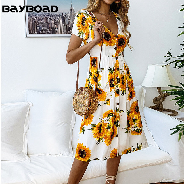 Bayboad 2019 Casual Summer Vacation Holiday Yellow Midi Sunflower Dress for Women's Tunic Button V-neck Sexy Pocket Vestido