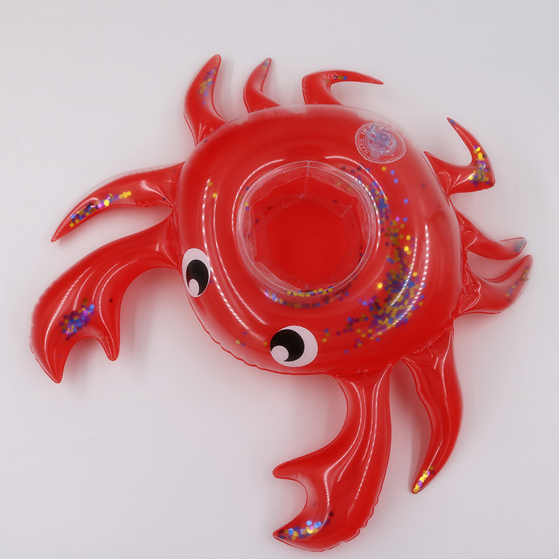 Inflatable Sequin Crab Drink Floats Inflatable Unicorn Cup Holder Pool Party Inflatable Drink Floats Toy