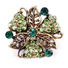 5 Шт. Оптовая Античная Позолоченный Цвет Кристалл Diamante Цветок Брошь Пен или Воротник Значки для Женщин(China (Mainland))