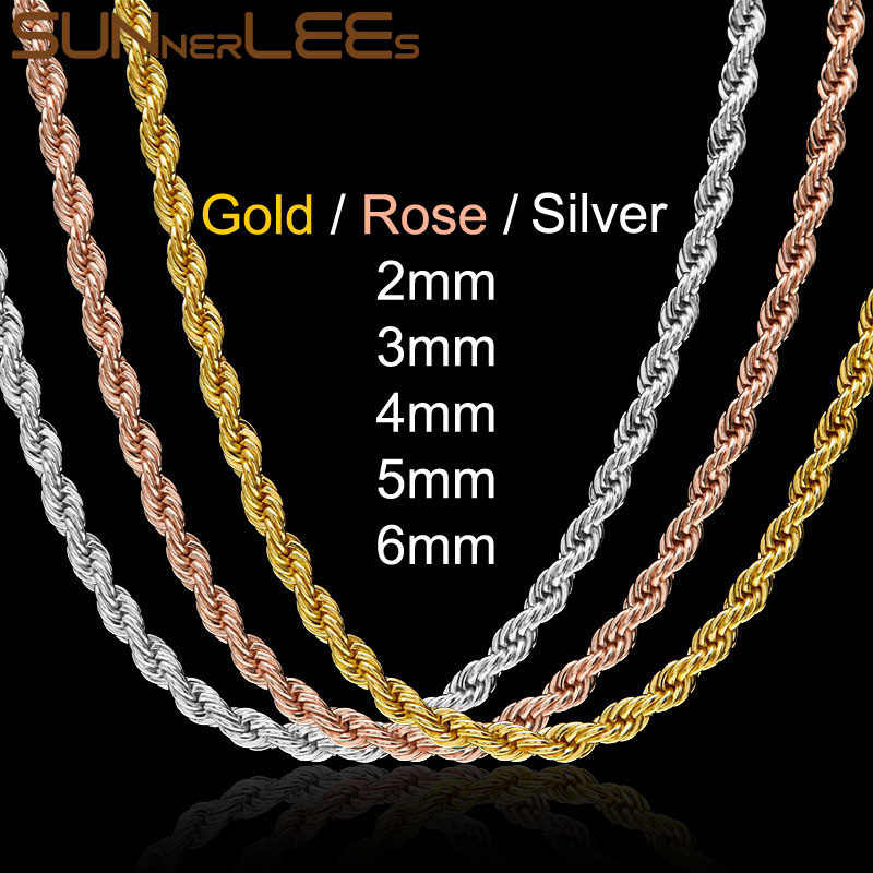 SUNNERLEES 2mm~6mm Rope Twisted Chain Necklace Silver Rose Gold Color Men Women Fashion Jewelry Gift C44 N