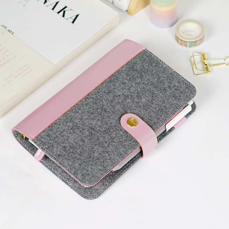 Japanese Personal Dairy Felt With Pu Leather Travel Journal Golden Ring Office Binder Notebook Cute Kawaii Agenda WJ-XXWJ351- japanese personal dairy felt with pu leather travel journal golden ring office binder notebook cute kawaii agenda planner a5 a6