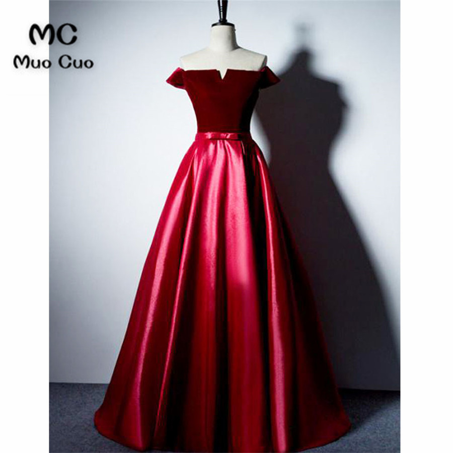 Elegant 2018 Burgundy Off Shoulder Prom Dresses Long Dress For Graduation Satin Short Sleeves Formal Evening Prom Dress