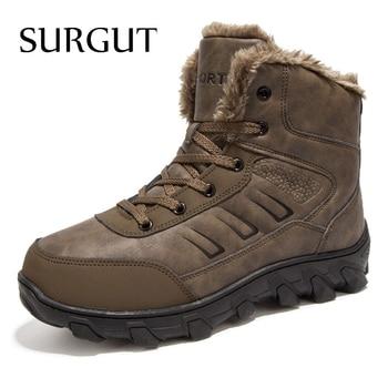 Botas de nieve calientes de la cena de la piel del invierno de la marca de SURGUT para hombres, zapatos masculinos, antideslizantes, Casual, de seguridad para el trabajo botas de tobillo