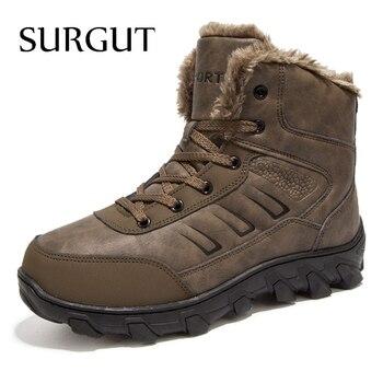SURGUT Marke Winter Pelz Abendessen Warme Schnee Stiefel Für Männer Erwachsenen Männlichen Schuhe Nicht Slip Gummi Casual Arbeit Sicherheit Casual stiefeletten
