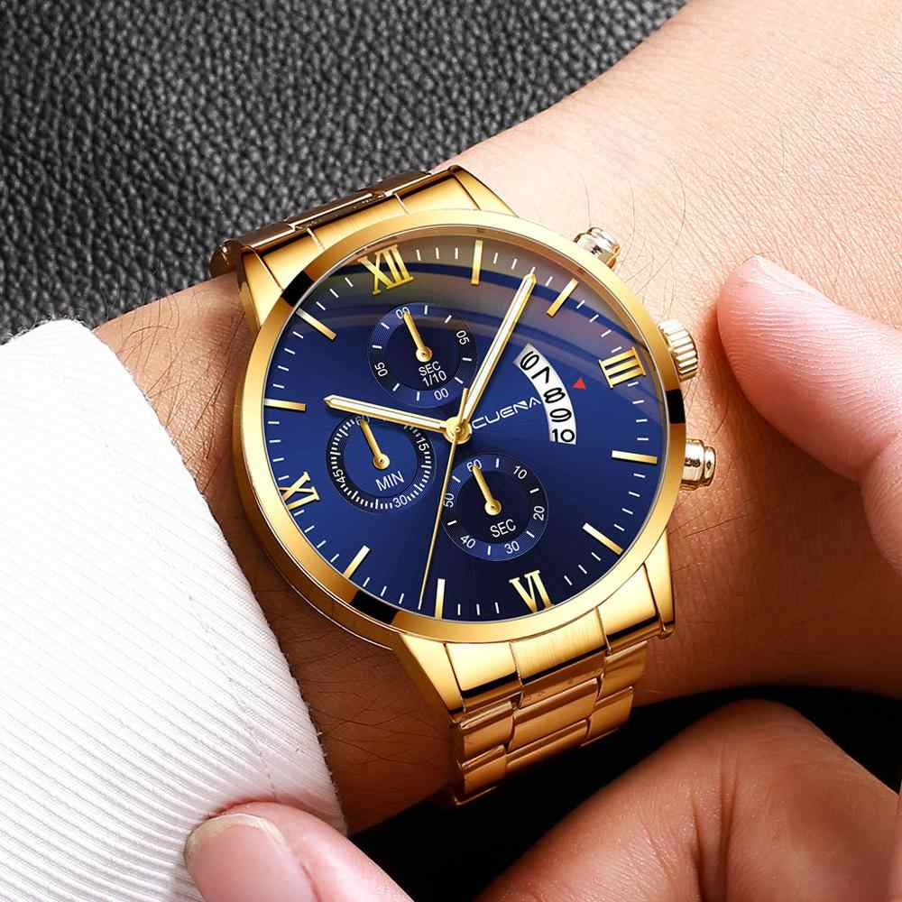 CUENA Fashion Military Men Watch Stainless Steel Belt Date Sport Quartz Wrist Watch Luxury Watch Hot Clock Relogio Masculino A40