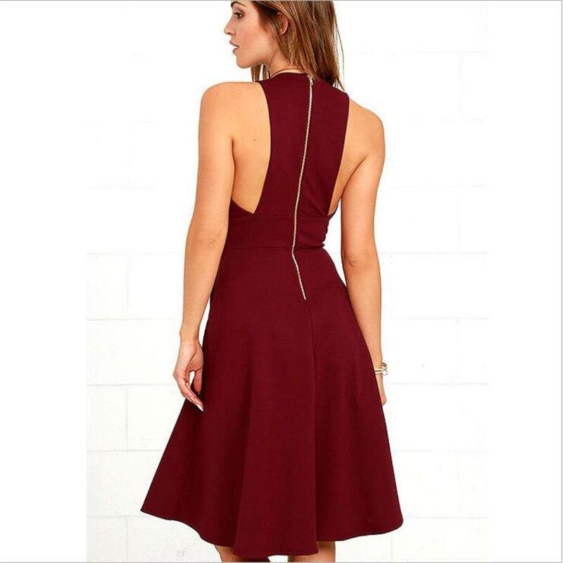 Slim Col Europe V Solides Black red Robe Nouveau Sexy 2018 Amérique Poches Profond Manches Femmes Robes De Été Sans Soirée Mode Style FPtWwZq