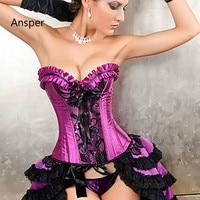 Corselet Espartilho negligee Women club Burlesque Overbust Corset with Mini TuTu Skirt Fancy Dresses Costume S 2XL