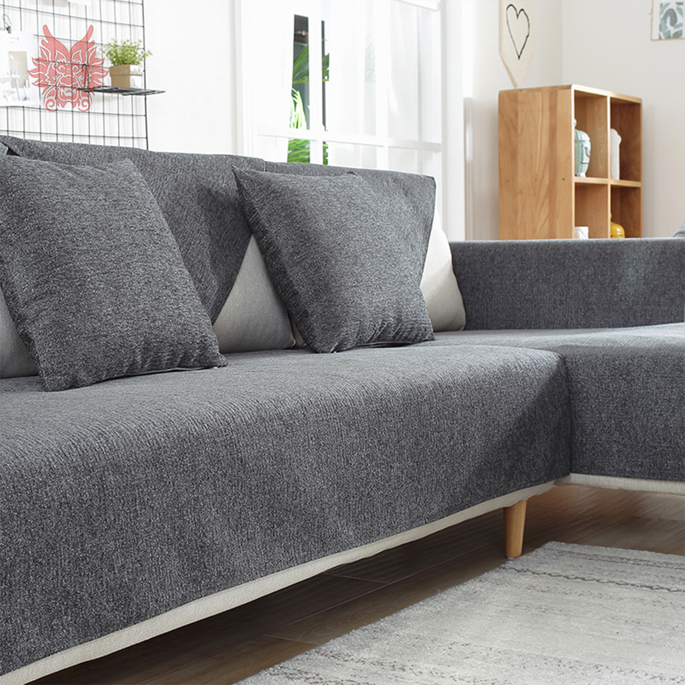 European style luxury weighted chenille sofa cover for living room  slipcover fundas de sofa sectional couch covers SP5604