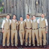Hot Selling Khaki Groommens Vests Best Man Vest Custom Made Formal Vest Wedding/Prom/Dinner Occasion Waistcoat