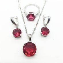 925 Sterling Silver stone Jewelry Fashion Rose Cubic Zircon Crystal Pendant Necklace Earrings And Ring Set For Women(China)