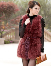 S1053 Lady Ostrich Feather Fur Vest Or Women Real Turkey Feather Fur Gilet Fashion Sashes Quality A Wholesale / Retial