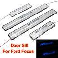 4 PCS Para Ford Focus LED de Aço Inoxidável Soleira Da Porta Guardas Placa de Chinelo Pedal Bem-vindo 2012 2013