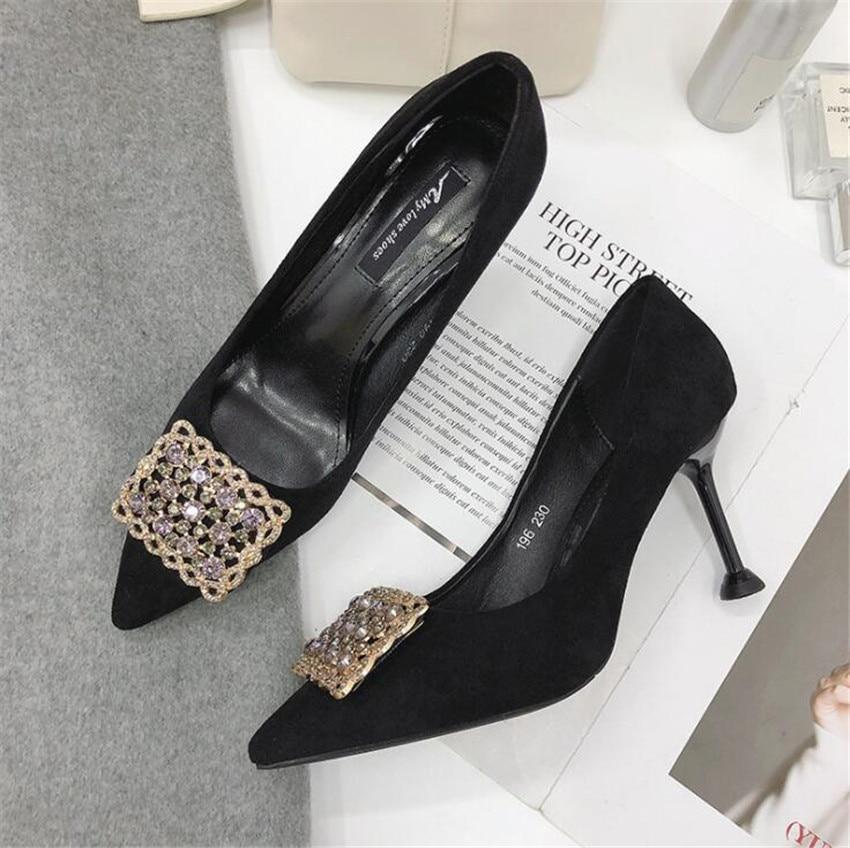 ZOUDKY 2018 otoño nuevo estilo coreano de tacón alto cabeza aguda de moda superficial de diamantes de imitación de Metal zapatos