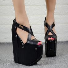 b0f9dd0025 Europeu estilo Americano sexy boate mulheres sapatos 19 CENTÍMETROS simples  e elegantes sapatos de salto alto plataforma de muff.