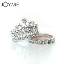 New Fashion Silver Plated Zircon Crown Ring For Women Elegant Luxury CZ Diamond Engagement Party Ring Set Wholesale