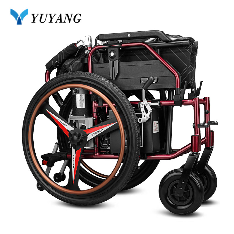 Strong capacity foldable electric wheelchair with distance range 20km