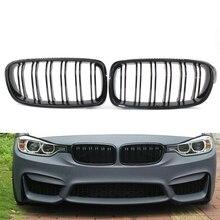 Стайлинга автомобилей Передний Центральный Широкий Почек Гуд Решетки Черный Глянец 2-строчный Автомобилей Решетки для BMW F30 F35 2012-2016