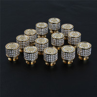 Luxury 24K Real Gold Czech Crystal Brass Round Drawer Cabinet Knobs And Handles Furnitures Cupboard Wardrobe