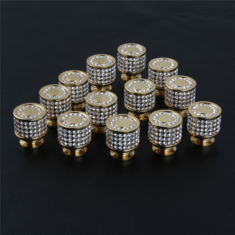 Brass 24K Gold Czech Crystal Cabinet  Knobs and Handles Drawer Furnitures Cupboard Wardrobe Vintage Knobs Door Pull Handles luxury gold czech crystal round cabinet door knobs and handles furnitures cupboard wardrobe drawer pull handle