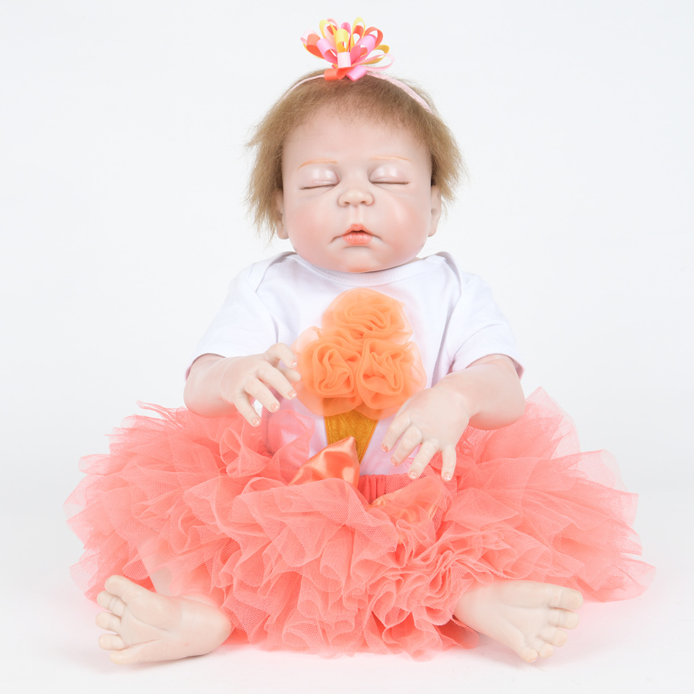 22 inches Closed Eyes Soft Cute Full Silicone Reborn Doll Realistic Newborn Baby Girl Doll Toy for Kids Birthday Xmas Gift Bebe realistic doll 18 inches cute doll handmade full vinyl american girl doll reborn baby kids gift for girl