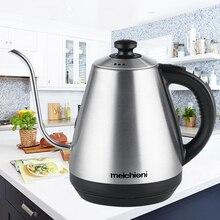 Tetera con cuello de cisne de 1L, tetera eléctrica con aislamiento de temperatura ajustable, tetera de acero inoxidable para café y té