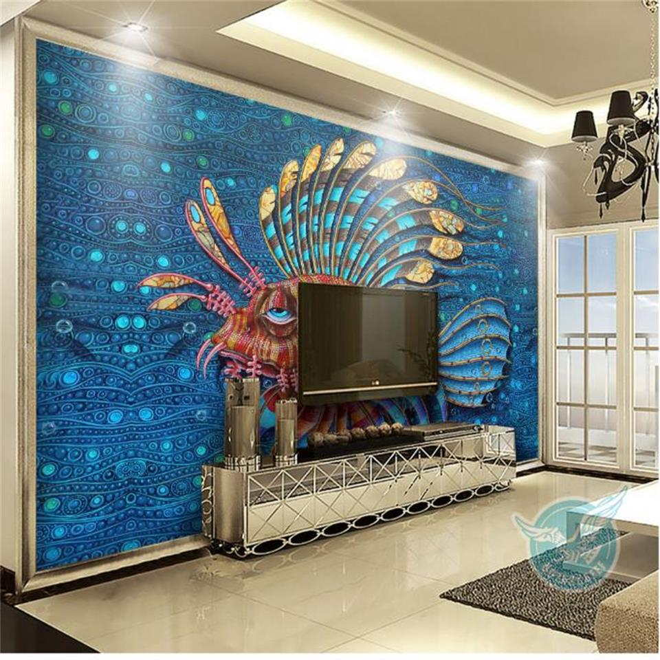 Custom 3D Photo Wallpaper Mural Non-Woven Living room TV Sofa Background Wall paper Tropical Region Guppy Wallpaper Home Decor 3d photo wallpaper custom room mural non woven sticker retro style bookcase bookshelf painting sofa tv background wall wallpaper