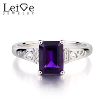 Leige Jewelry Genuine 925 Sterling Silver Natural Amethyst Ring Promise Rings Emerald Cut Purple Gemstone February