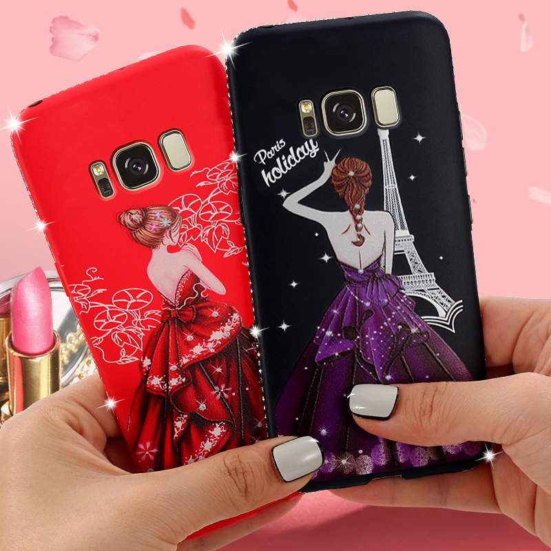 YiKELO Fashionable Full Case For Samsung Galaxy S8 S8 Plus Luxury drill With Beautiful Girl Dress Silicone Back On Cover S8Plus