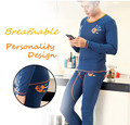 Men's Low Waist Full Plaid Cotton Combed Thermal Sets Handprint Printing First Grade Long Johns(for A Set)
