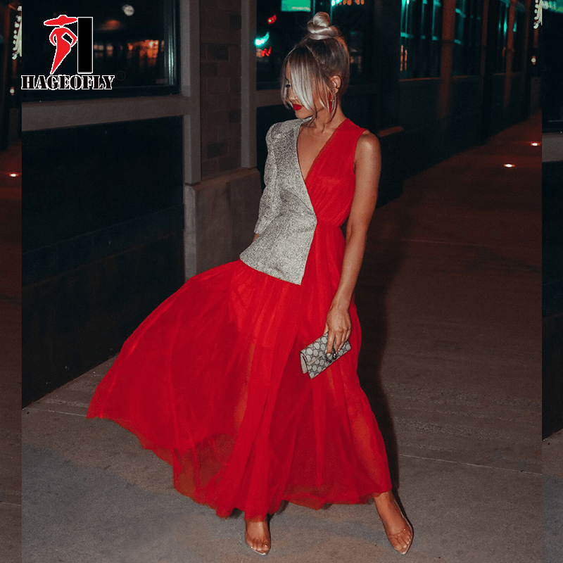 New Designer Runway Dress for Summer 2019 High Street Fashion Red Mesh Pleated Patchwork Single Sleeve Maxi Long Women Dresses