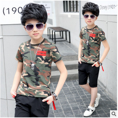 Kids boys short-sleeved suit 2017 new summer children's cotton casual Camo T-shirt +shorts big baby boy girls clothes 4-16 years цена 2016