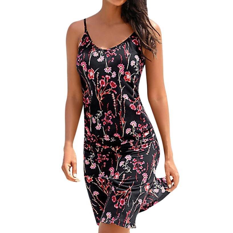 Летний Пляжный сарафан с цветочным принтом, платья в стиле бохо, женские платья миди без рукавов с круглым вырезом, женская пляжная одежда # L