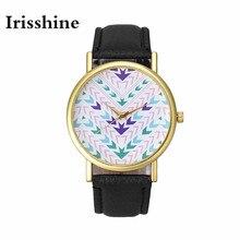 Irisshine i0606 marca mulheres relógios de luxo relógio de senhora menina presente Da Moda Asteca Padrão Tribal de Couro Das Mulheres de Quartzo Relógio de Pulso
