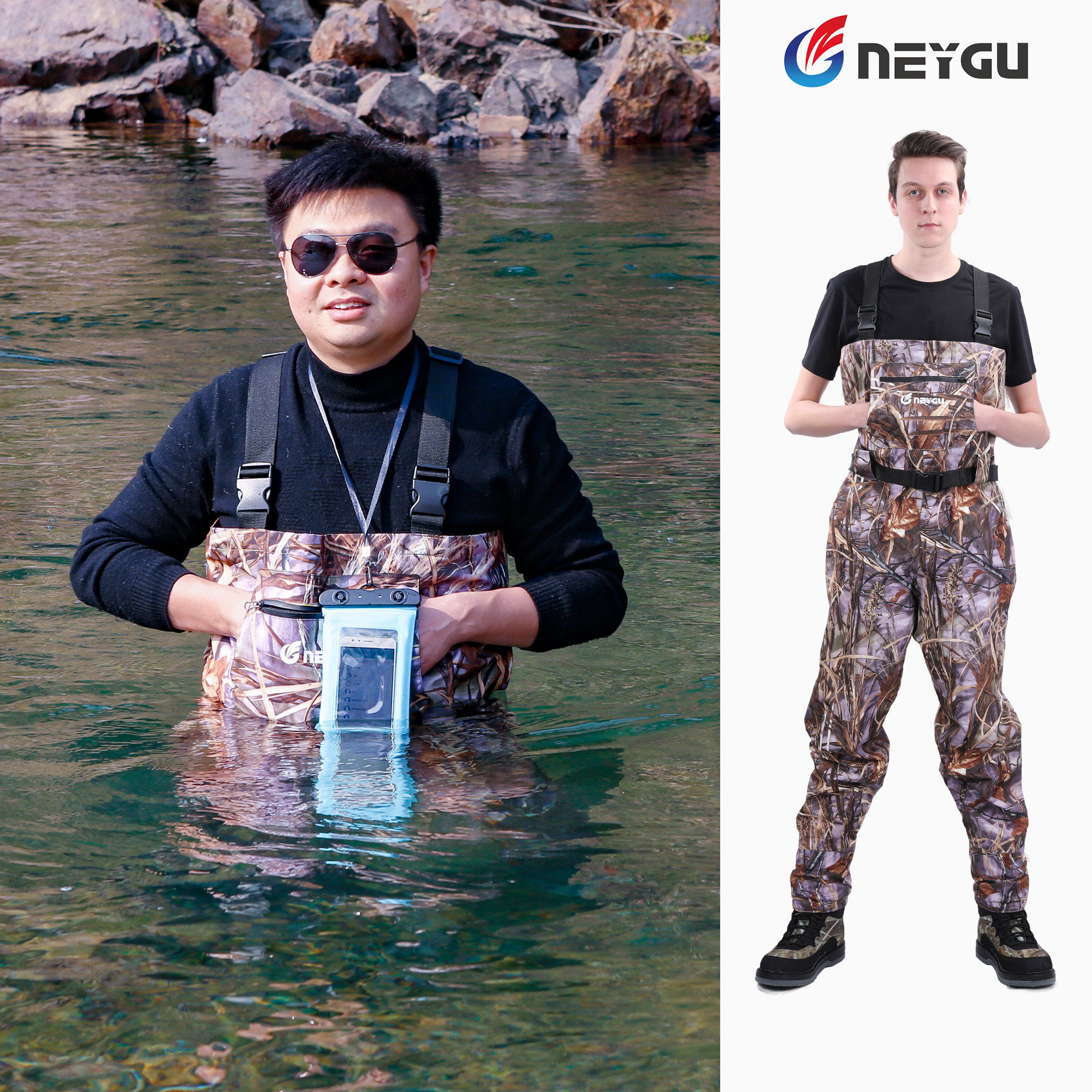 Waterproof Chest Fishing Waders Breathable Rafting Waders with Stocking Foot Hunting Pants for Men for muddy