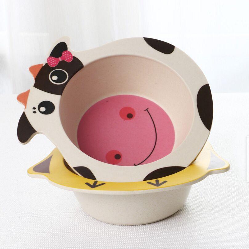 Memberi Makan Bayi Hidangan Gambar Kartun Anak Bambu Piring Padat