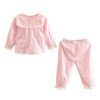 LittleSpring New Baby Girls Pajamas Sets 2pcs Casual Striped Sleepwear Kids Girl Cotton Pajamas Sets Spring