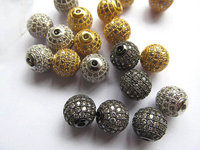 12pcs 6-16mm CZ Micro Pave Diamond, CZ Cubic Zirconia Connector Charms, Findings DIY Jewelry,round ball beads