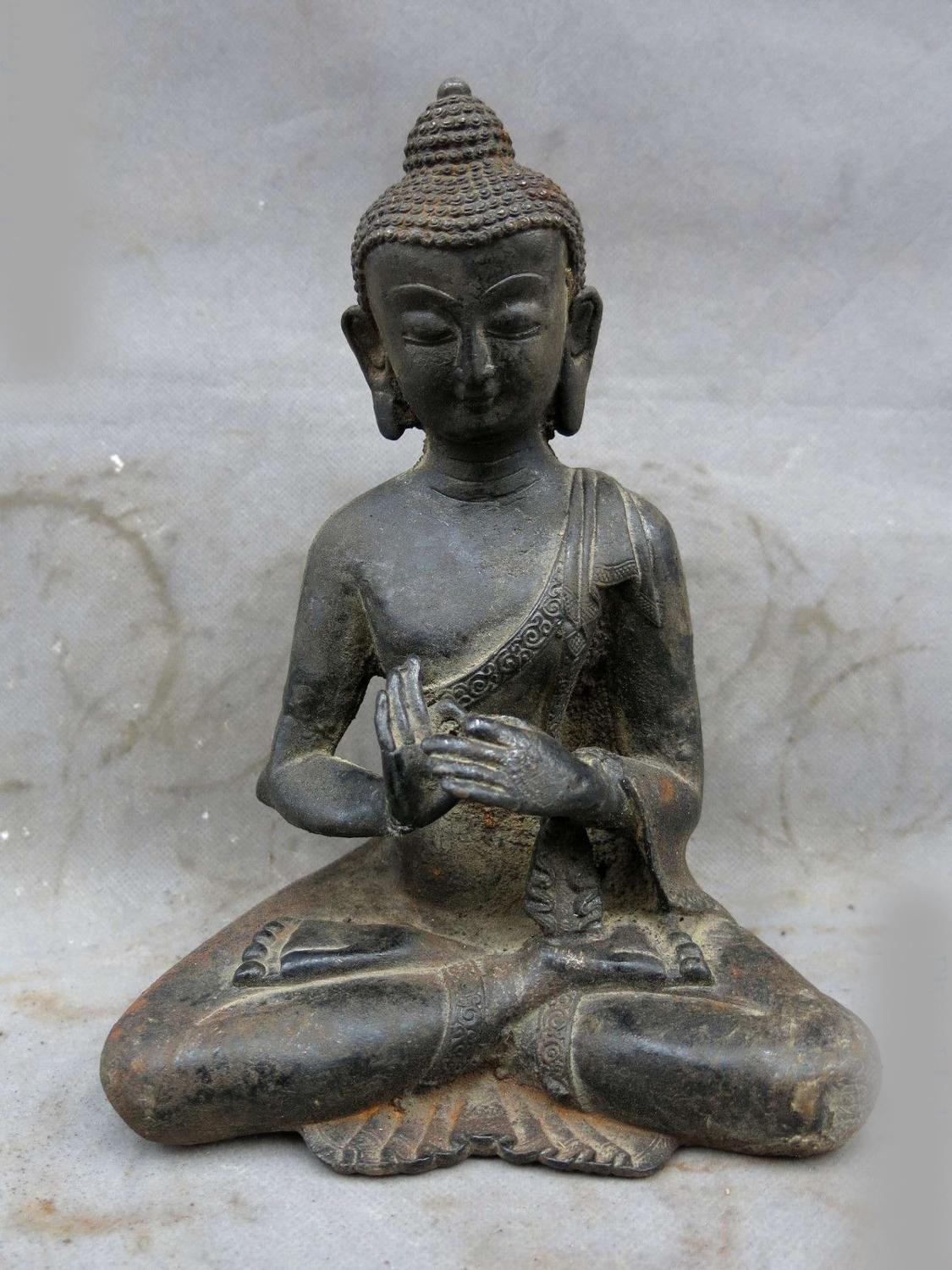 DS Old China Iron Carved Fine Beautiful Buddhism Buddha Shakyamuni Sculpture Statue
