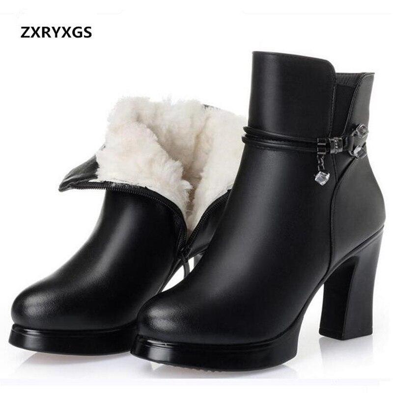 Zxryxgs 브랜드 부츠 양모 따뜻한 정품 가죽 신발 여성 스노우 부츠 2019 새로운 겨울 발목 부츠 패션 신발 높은 굽 부츠-에서앵클 부츠부터 신발 의  그룹 1