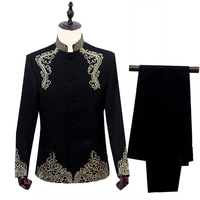 Fashion Brand Men Suits Chinese Tunic Suit Blazer Embroidering White Blue Black Pants Suits Jacket Slim