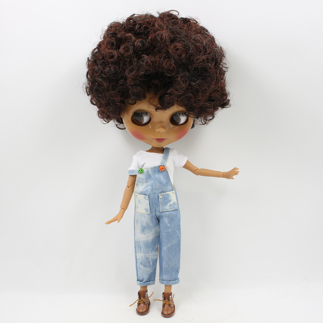 Blyth 30cm Doll Joint Body 1/6 Short Curly Black mix Brown Hair Dark Skin glossy face bjd toy DIY with hand A&B No. 130BL910362