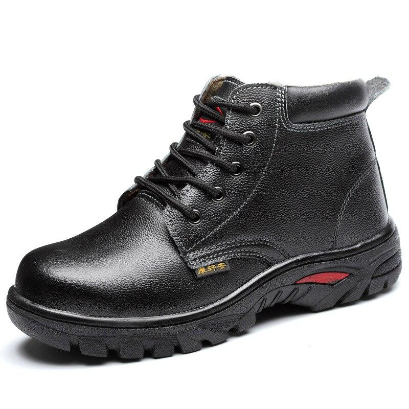 Tamanho Moda Mens punção De Sapatos Anti Aço Sapato Botas Grande Pele Neve Pelúcia Do Cabeça Inverno Quente Segurança Da Tornozelo Trabalho Algodão r6qE5rw