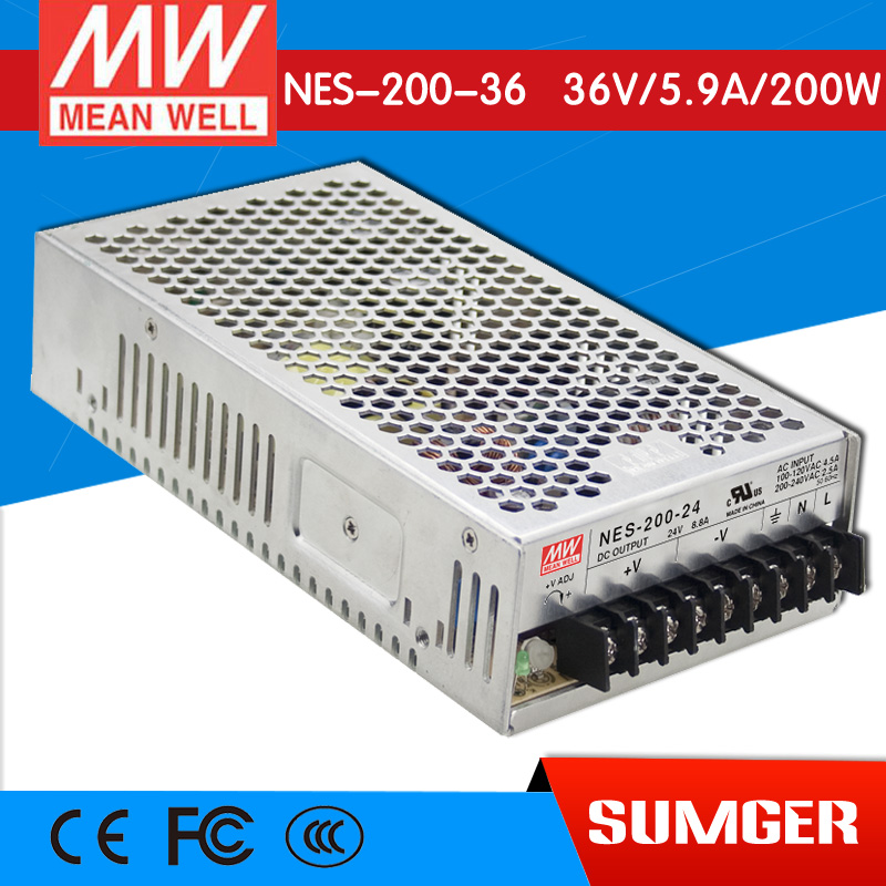 [Only on 11.11] MEAN WELL original NES-200-36 36V 5.9A meanwell NES-200 36V 212.4W Single Output Switching Power Supply original meanwell nes 350 24 ac to dc single output 350w 14 6a 24v mean well power supply nes 350