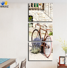Free shipping wall art canvas painting bicycle car street HD print wall canvas art for room decoration retro style poster FA264(China)
