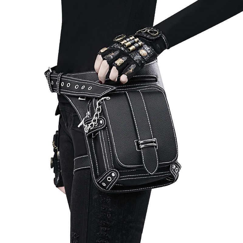 Dişli Duke Vintage Steampunk çanta Retro Rock gotik Retro çanta Goth omuz bel çantaları paketleri viktorya tarzı kadın erkek bacak çanta