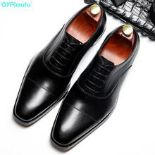 QYFCIOUFU New High Quality Genuine Leather Men Shoes Lace-Up Luxury Italian Business Dress Men Oxfords Shoes Male Formal Shoes yeinshaars men genuine leather oxfords shoes luxury brand italian style male footwear shoes for men breathable flat lace up shoe
