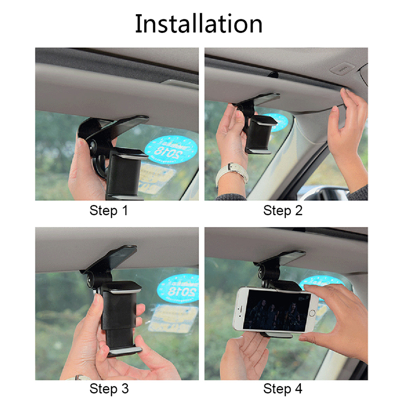 Image 5 - Universal Car Sun Visor Phone Holder 360 Degree Rotation Automobiles Navigation Mount Stand Clip Mobile Phone Bracket Accessory-in Ornaments from Automobiles & Motorcycles