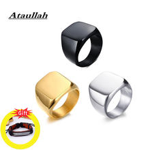 Ataullah Stainless Steel With Gold Black Plated Rings Men Vintage Ring High Quality Mirror Polished Male fashion Jewelry RW030(China)